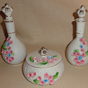 Vintage 3 Piece Porcelain Vanity Set - Raised Flowers