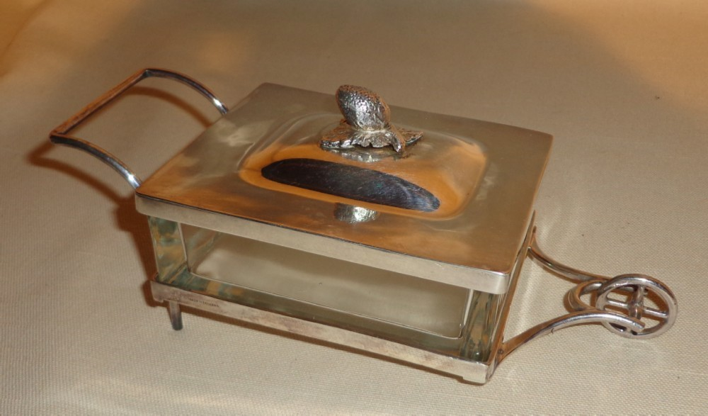 1950's Silver Plate & Crystal Wheel Barrow Candy Dish