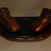 Bronze Baby Shoes Picture Frame Holder