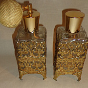 "Pair of Vintage Perfume Bottles Ornate Gold Metal "" Matson "" Style"