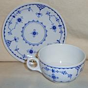Furnivals Denmark Blue Flute Cup & Saucer Set