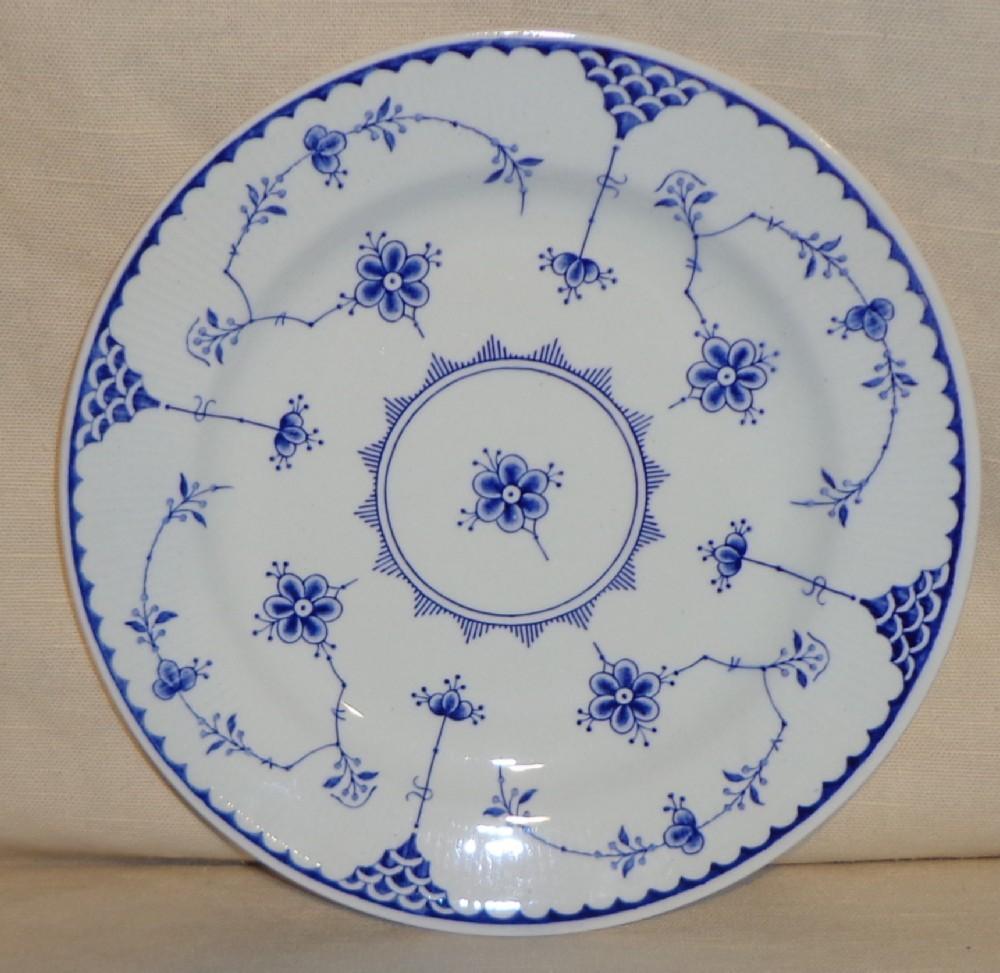 "Furnivals Denmark Blue Flute 8 1/2"" Salad Plates - England"