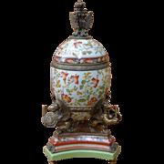 Castilian - Gilt Bronze ormolu - Egg Shape Box/Urn Armorial
