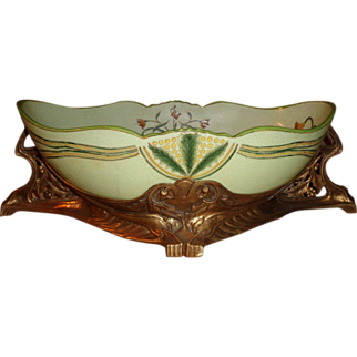 Castilian  - Art Nouveau Porcelain Bowl on Ormolu Brass Base
