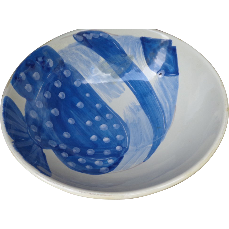 Vietri Adriatic Collection - Large Blue and White Fish Bowl