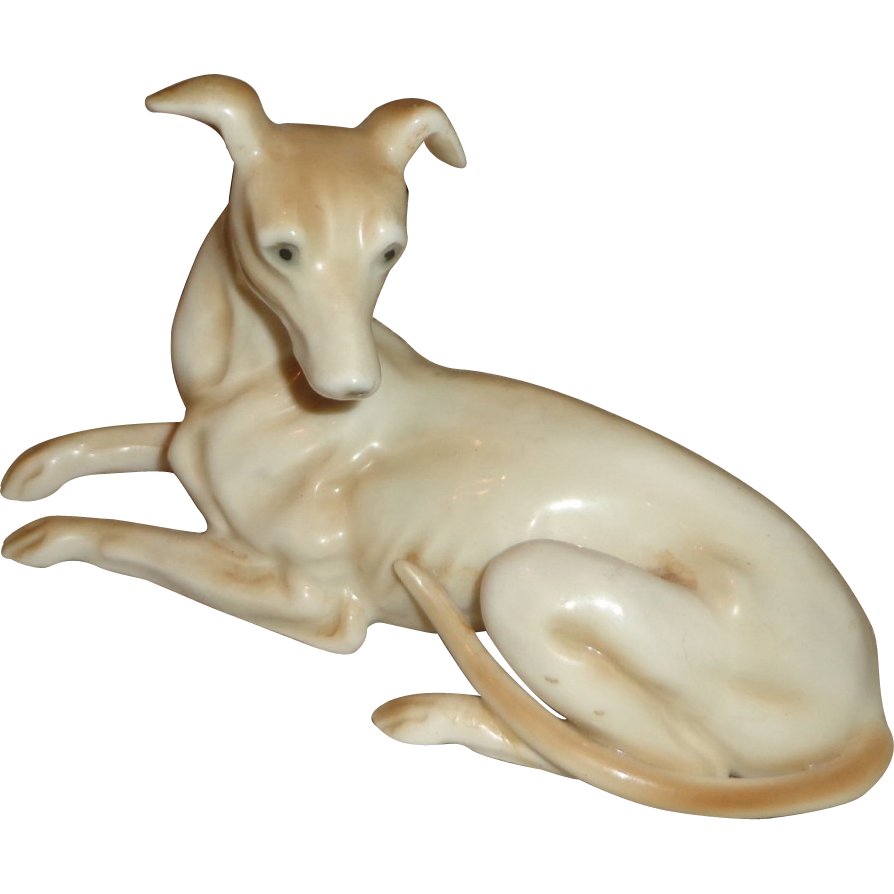 Pair of Vintage Porcelain Whippet Dogs