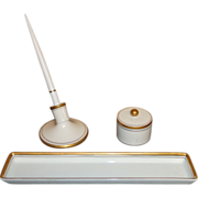 Vintage Fitz and Floyd - Porcelain Desk Set With Pen