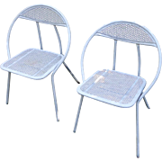 Pair of Russel Woodard Clamshell Art Deco Iron Patio Chairs