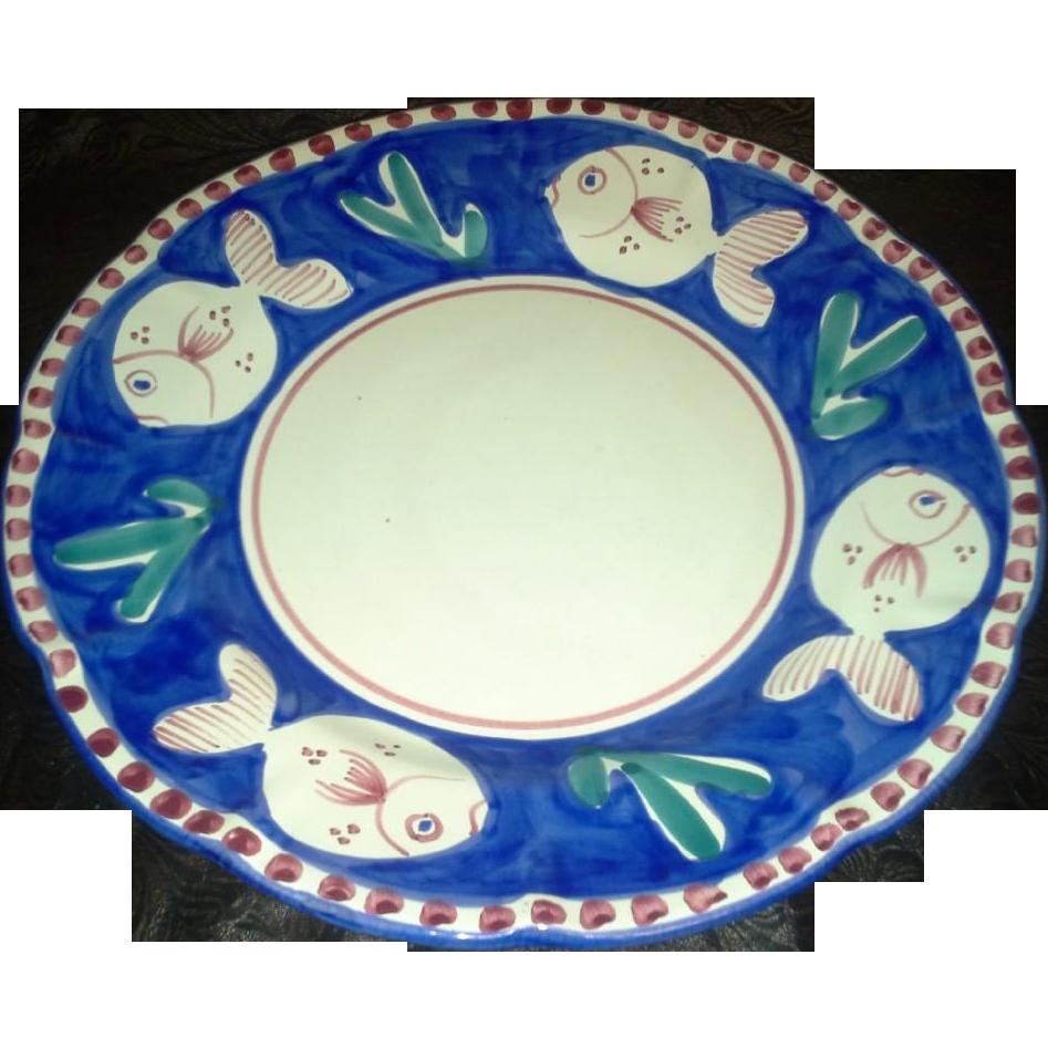 "Vietri - Pesce - Blue and White - 11 1/2"" Dinner Plates"