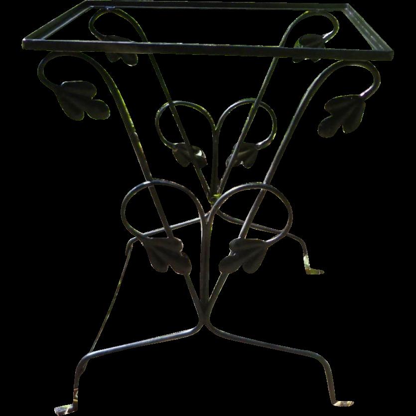 Vintage Russell Woodard Wrought Iron Patio Table - Oak Leaf Pattern