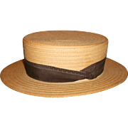 Colombian Straw Boater Hat - Circa 1930