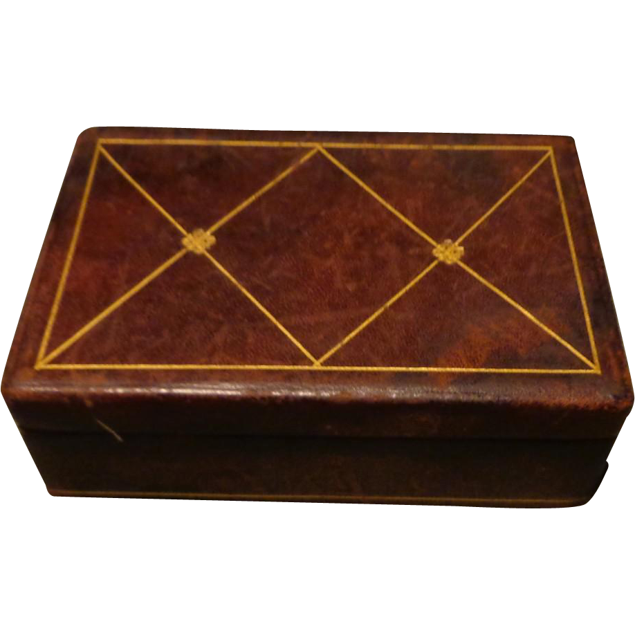 Italian Leather Hand Tooled Vanity Box