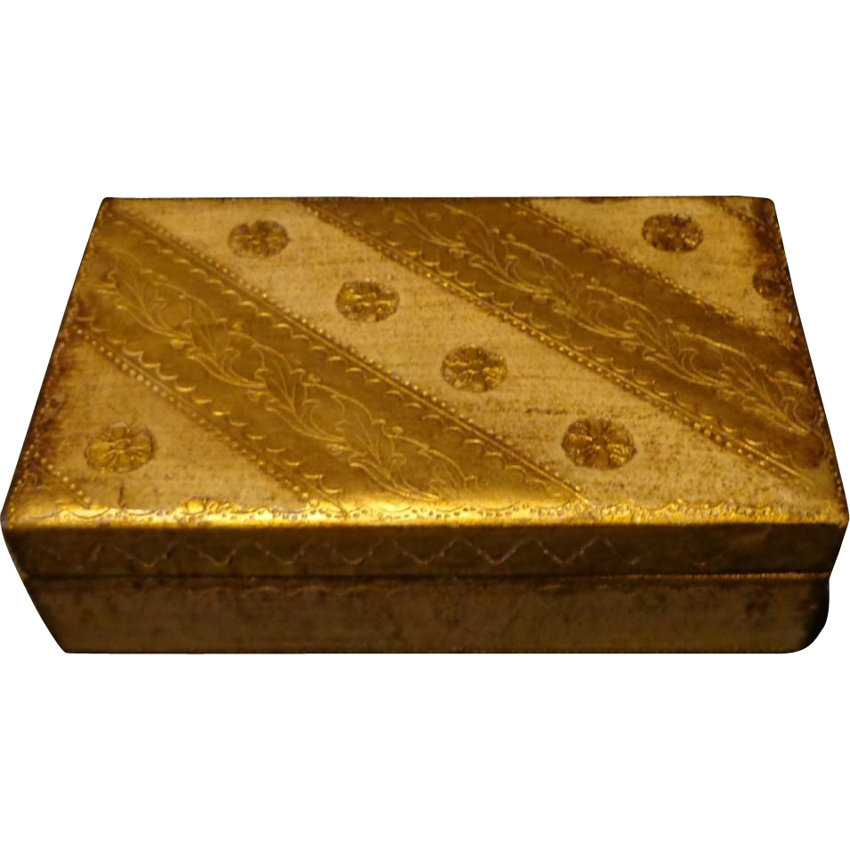 Vintage Florentine Box - Gold & Cream - Italy