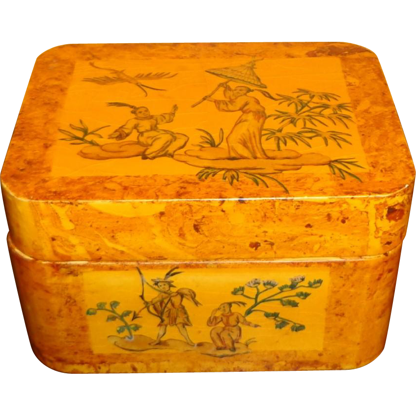 Vintage Asian Motif Lacquer Box By Boca Bazaar