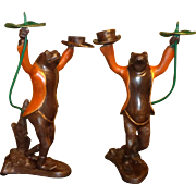 Cold Painted Bronze - Dancing Frog Candle Holders