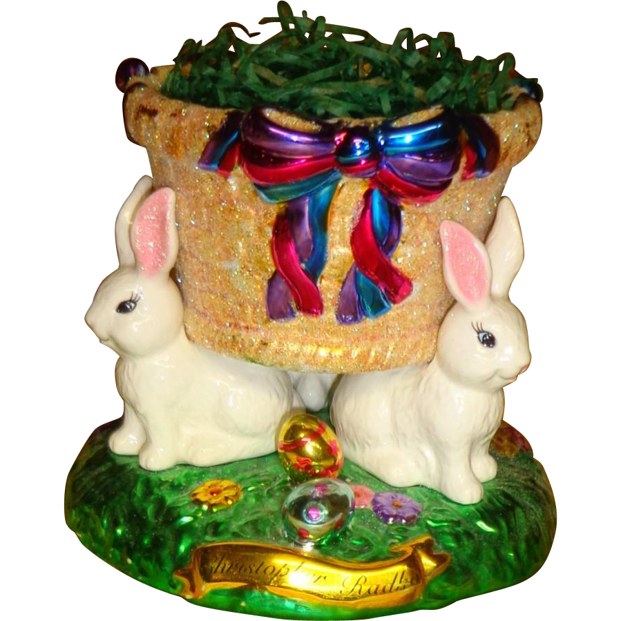 Chirstopher Radko -  Hand Painted -  Easter Bunny Basket -  Display