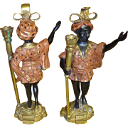 Vintage Solid Bronze Blackamoor  Candle Holders - Cold Painted