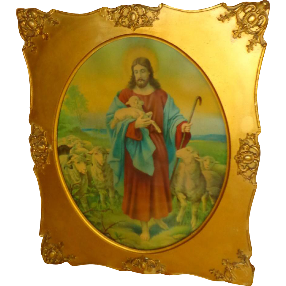 1930's Jesus With Flock Of Lambs - Print