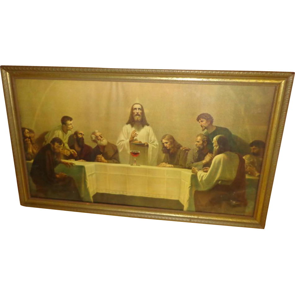 Vintage Jesus Last Supper Print - 1940's