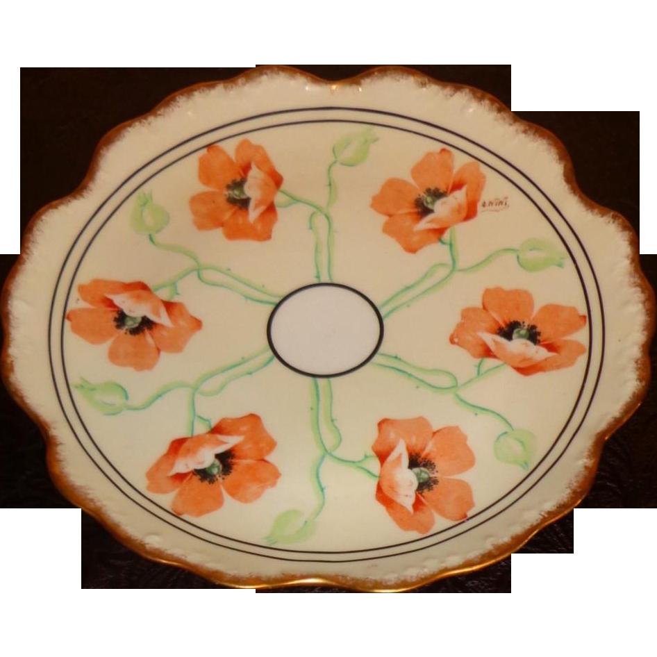 Elite Works Limoge France - Art Nouveau - Poppy Plate