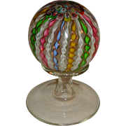Murano Latticino Radial Twist Crown Paperweight