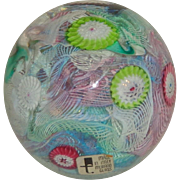 Murano Art Glass Latticino & Cane Paperweight