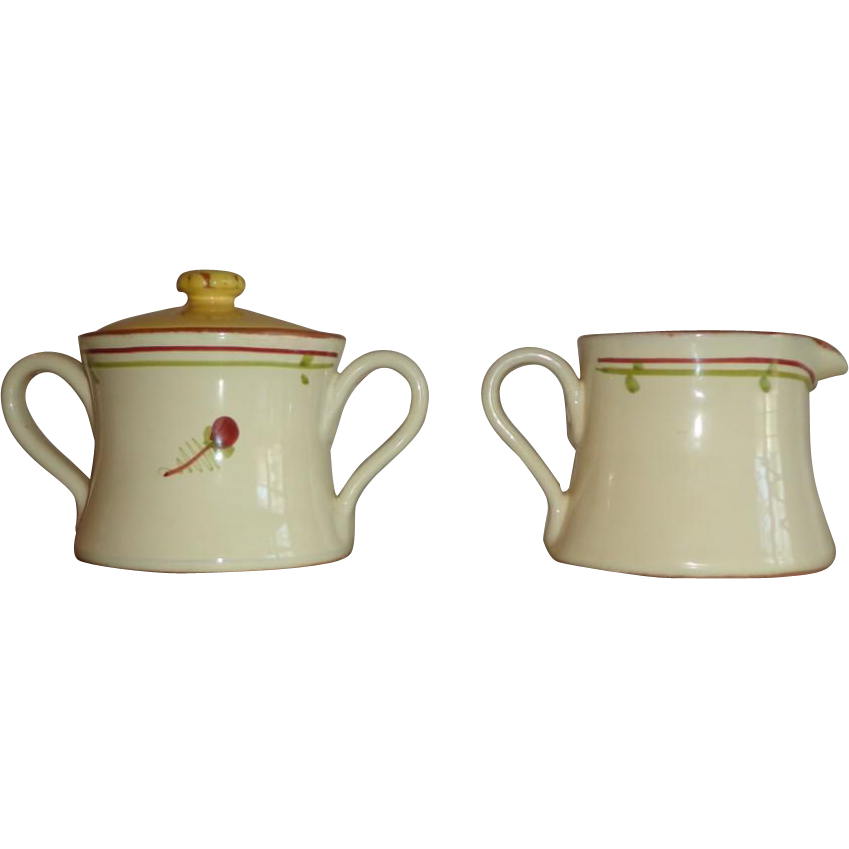 Vietri - Fiori Di Bosco -  Creamer and Sugar Bowl