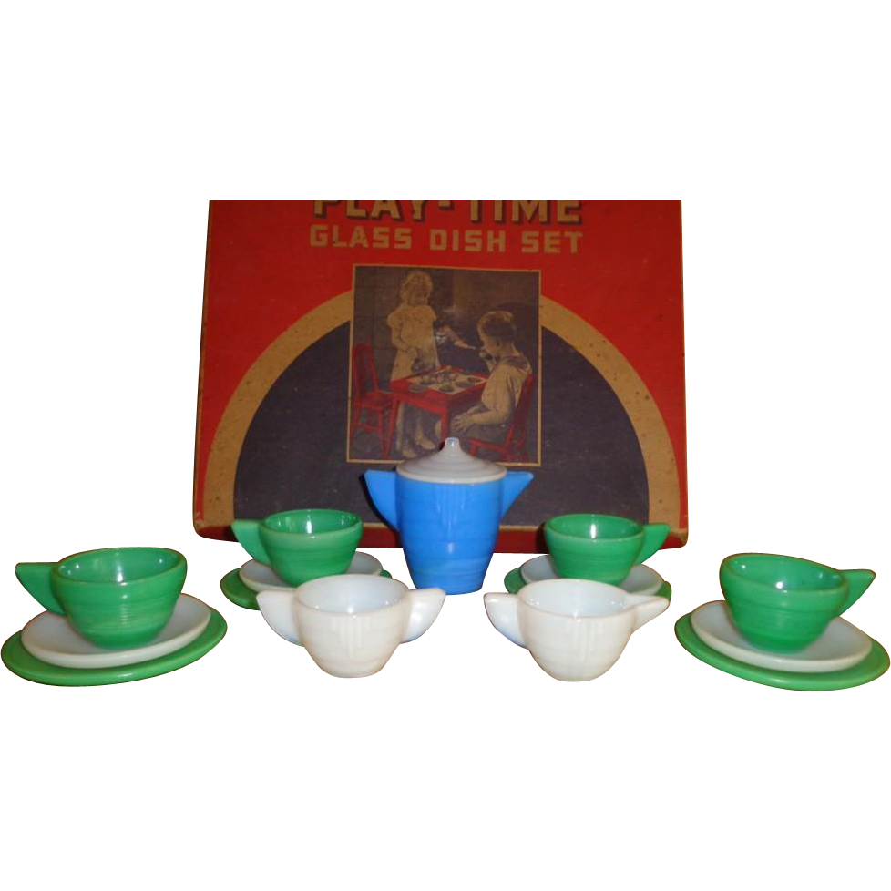 Vintage 1930's Akro Agate - Playtime Dish Set - Art Deco - Original Box