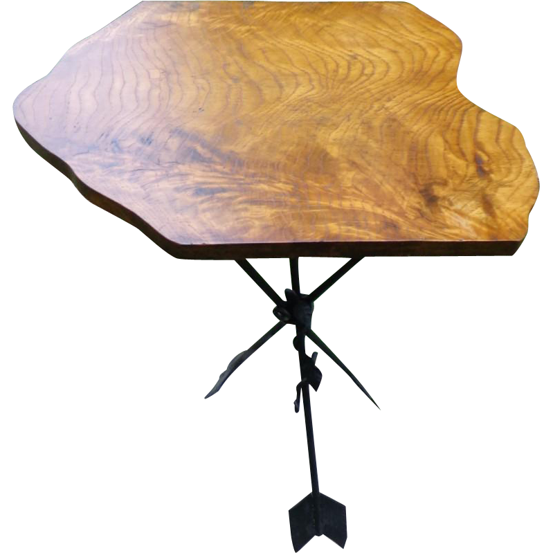 Vintage Arrow Base - Burl Wood Top Table - Hollywood Regency