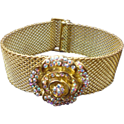 "Vintage "" Kirks Folly "" Mesh Bracelet With Rhinestone Rose"