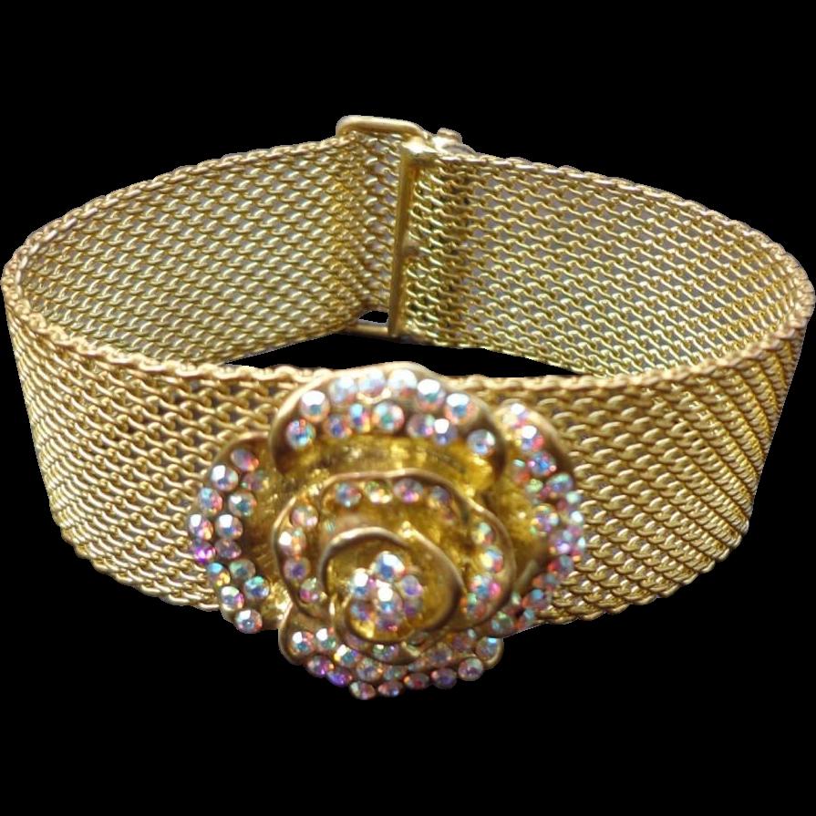 "Vintage "" Kirks Folly "" Mesh Bracelet With Rhinestone Rose"