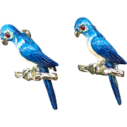 Vintage Enamel - Pair of Blue Bird Pins/Budgie Bird