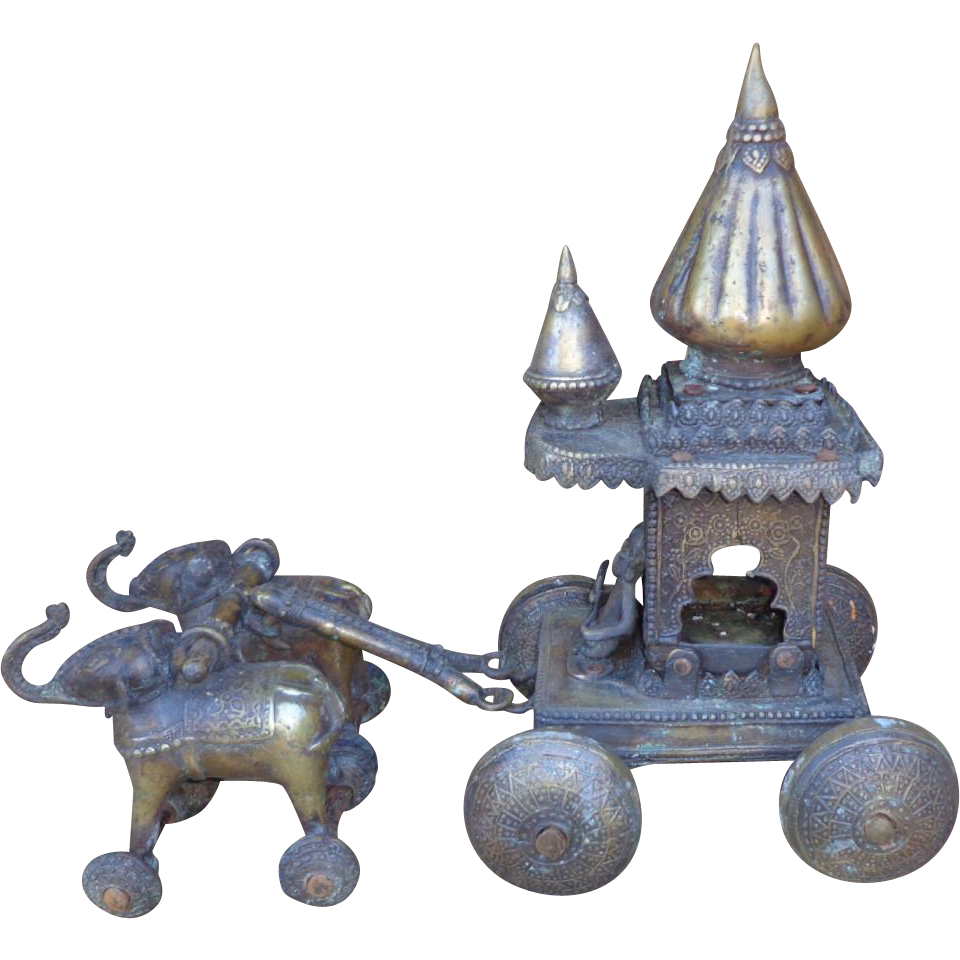 Antique India Baggi/Chariot With Elephants Solid Brass/Bronze