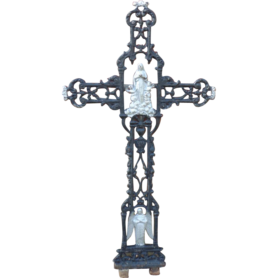 Antique Wrought Iron Cemetary/Garden Religious Cross