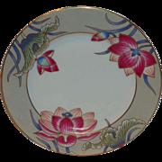 "Fitz & Floyd ""Cloisonne Lotus""- Silver Satin - 7 1/2"" Salad Plate"