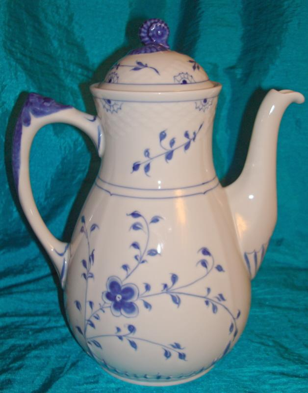 "Bing & Grondahl ""Butterfly"" Blue and White Large Coffee Pot"