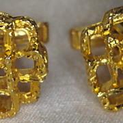 Vintage Gold Tone Free Form Cubist Cufflinks/ Cuff Links