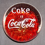 Coca Cola Art Glass Advertising Paper Weight/Red