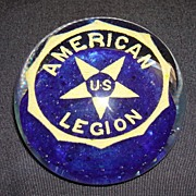Vintage American Legion Art Glass Paper Weight
