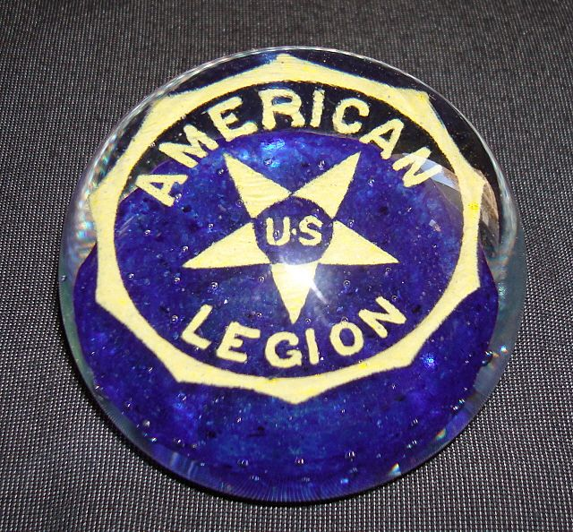 Vintage American Legion Art Glass Paper Weight