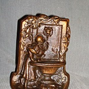 Lady At Fountain Bronze Bookend