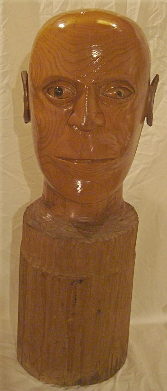 Vintage Hand Carved Wooden Male Bust