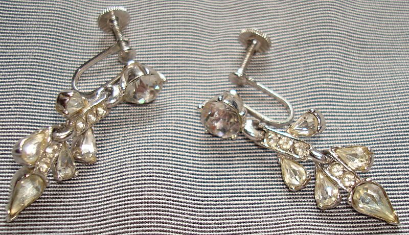 Vintage Bogoff Signed Rhinestone Earrings