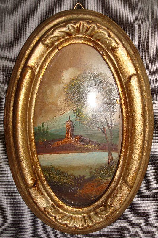Italian Miniature Oil Painting in Gilt Frame