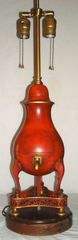 Vintage Tole Painted Table Lamp - Oriental Scenes