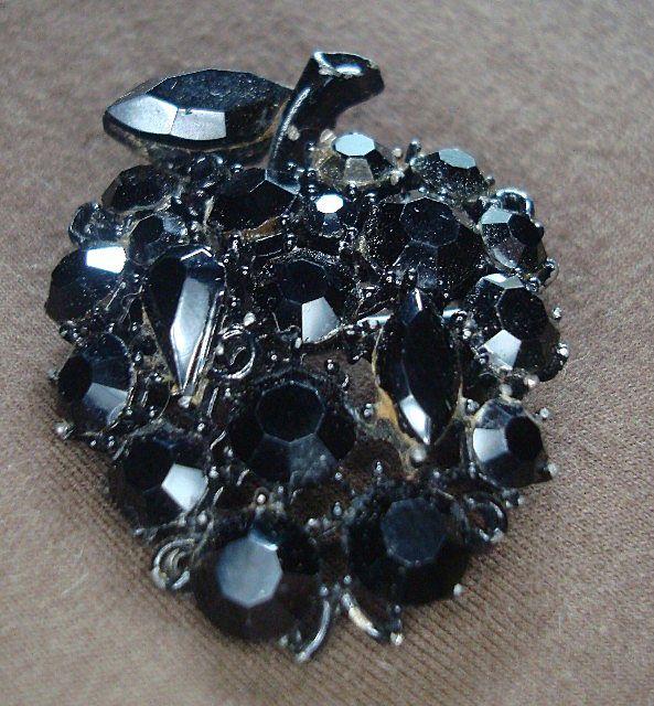 Lisner Black Rhinestone Apple Pin