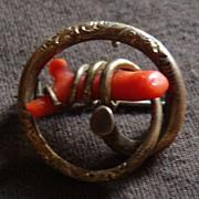 Vintage Victorian Branch Coral Pin