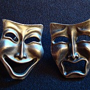 Vintage Comedy and Tragedy Pierced Ear Rings