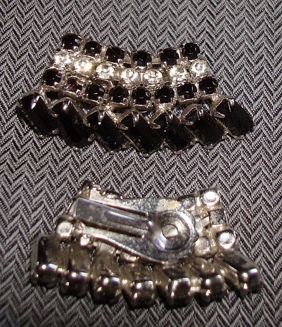 Vintage Black and Crystal Rhinestone Ear Rings