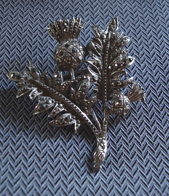 Silver Thistle Marcasite Brooch Pin
